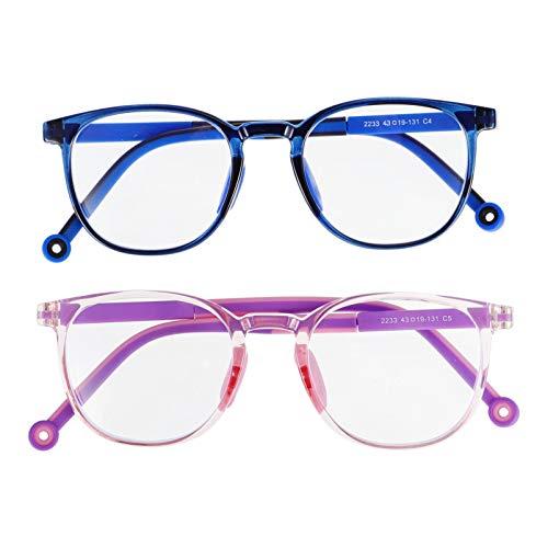 SOLUSTRE 2 Pares de Gafas de Bloqueo de Luz Azul para Niños Gafas Antioculares para Ordenador Juegos de Ordenador TV Teléfono Gafas para Niños Y Niñas