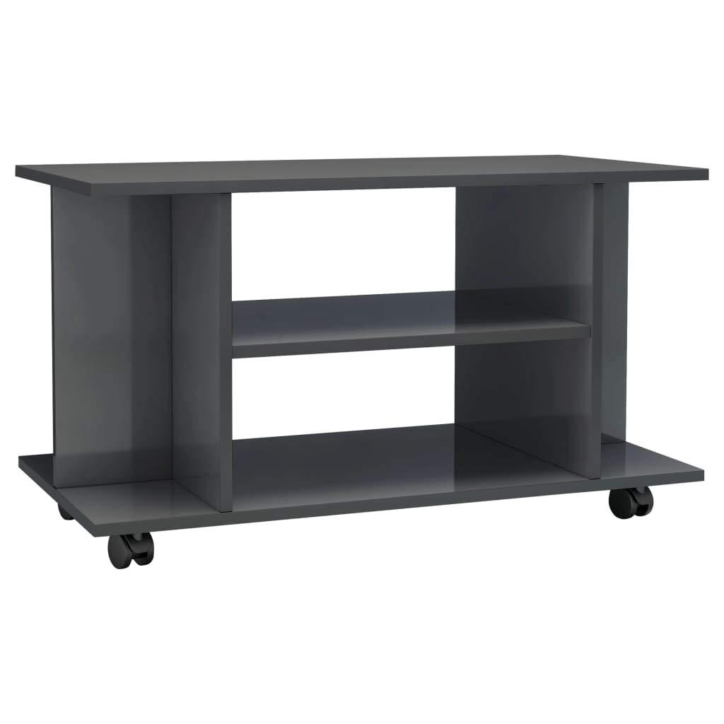 vidaXL TV Cabinet with Castors Chipboard TV Stand Entertainment Center CD  DVD Shelves Media Storage Unit Sideboard Home Organiser High Gloss Grey