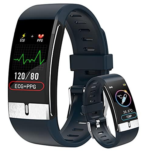 Smartwatch ECG Orologio Intelligente Fitness Tracker Donna, Temperature Smart Watch Uomo Impermeabile Ip68 Intelligente Orologio Contapassi Braccialetto Contapassi Cardiofrequenzimetro per Android iOS