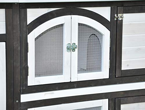 nanook Kaninchenstall, Hasenstall Jumbo XL mit seitlichen Aufgängen für mehr Platz – Wetterfest extragroß 138 x 48 x 109 cm braun/Weiss - 3