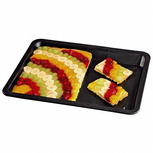Xavax Plaque de cuisson pour four (rectangulaire pour plaque à pâtisserie, gâteau aux oignons et pizza, extensible de 33 à 52 cm de largeur, antiadhésif, extensible, à rebord de 3 cm) Noir