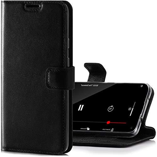 SURAZO Handyhülle für Samsung M51 – Premium Echtleder Hülle Schutzhülle mit [Standfunktion, Kartenfach, RFID Schutz] – Klappbar Klapphülle Wallet case Handmade für Samsung Galaxy M51 (Schwarz)