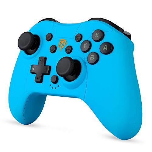 Mini Controller für Nintendo Switch / Switch Lite, Wireless Bluetooth Controller mit Bewegungssteuerung, Dual Vibration, Turbo Funktion, Wiederaufladbarer Akku, Blau
