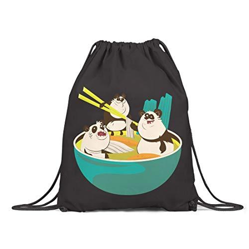 BLAK TEE Funny Ramen Panda Soup Illustration Organic Cotton Drawstring Gym Bag Black