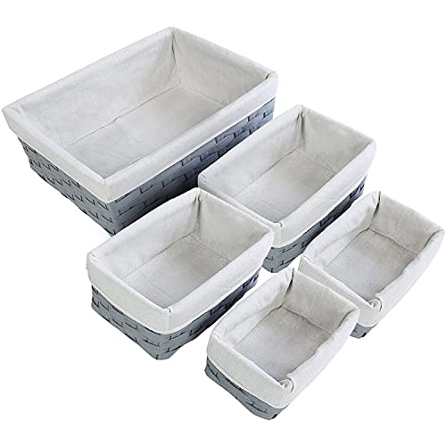 Cestas Nido - 5 Piezas de Cestas de Mimbre en gris claro para almacenamiento - 2 pequeñas, 2 medianas y 1 grande