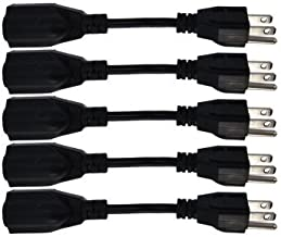 6-Inch Power Extension Cable, 5-Pack, Outlet Saver, 18 AWG