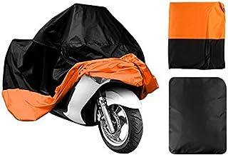 "LEANINGTECH All Season Black&Orange Waterproof Sun Motorcycle cover, Fits up to 108"" Harley Davison, Honda, Suzuki, Kawasaki, Yamaha,Street Glide Touring and More (XX Large)"