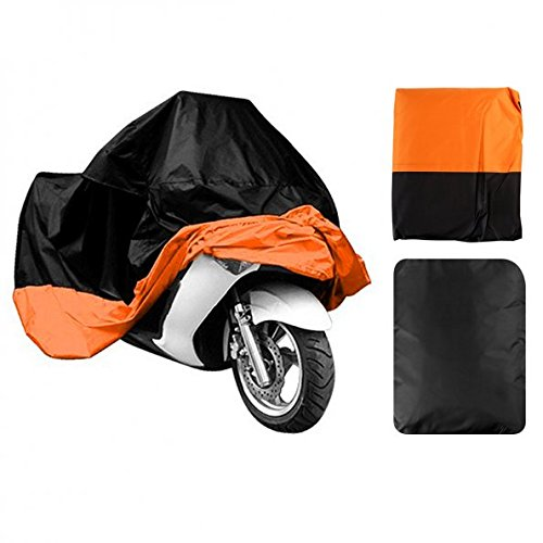LEANINGTECH All Season Black&Orange Waterproof Sun Motorcycle cover, Fits up to 108