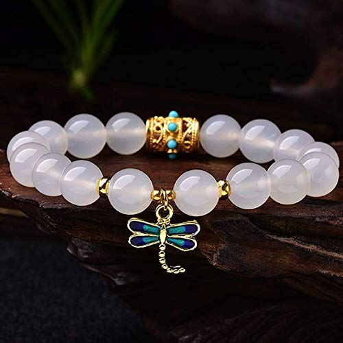 JPSOUP Feng Shui Wealth Bracelet for Women Natural White Agate Cloisonne Dragonfly Bracelet Stretchy Bangle Hand Carved Mantra Bead Talisman for Prosperity Money Good Luck