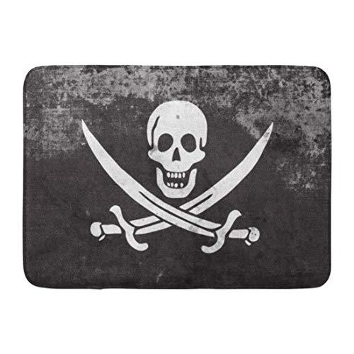 """ECNM56B Alfombras de baño Alfombrilla para la Puerta Jolly Calico Jack Bandera Pirata Estilo Vintage y Antiguo Roger Administration 15.8""""x23.6"""""""