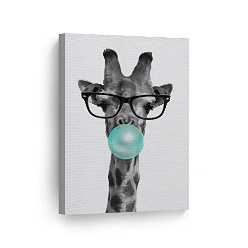 Smile Art Design Cute Giraffe with Glasses Animal Decor Bubble Gum Art Teal Blue Canvas Print Black and White Wall Art Home Decor Nursery Room Decor Stretched Ready to Hang Made in USA 12x8
