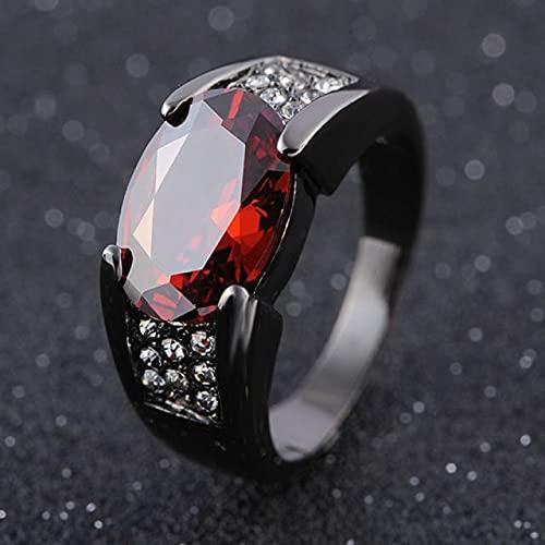 LVYAN Hip-Hop 14 K Oro Negro rubí obsidiana Anillo Fiesta Boda Zafiro Puro para Mujeres Hombres Unisex Rock obsidiana Anillo de joyería