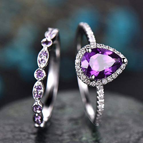 925 Sterling Silver Shining Amethyst Ring Tear Drop Shape 3Ct Cubic Zirconia Promise Rings Set CZ Teardrop Halo Ring Eternity Engagement Wedding Band Ring Sets for Women (US Code 8)