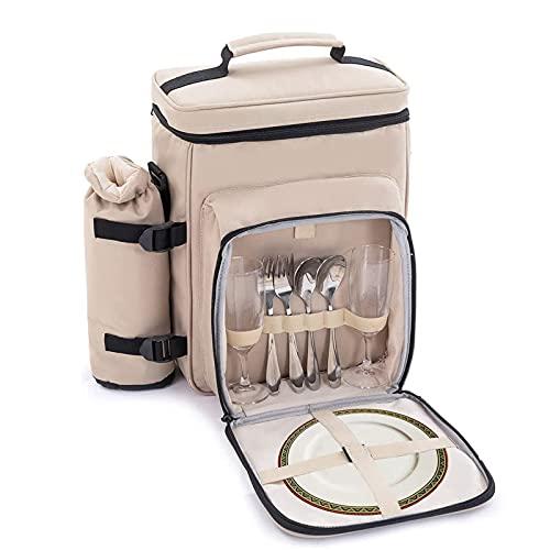 Zenph 2 Personen Picknicktasche, Kühltasche mit Isoliertasche, wasserdichte innere mit...