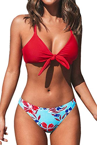 CUPSHE Women's Red Floral Print Knot Adjustable Bikini Sets, L