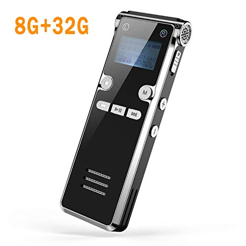 Digitales Diktiergerät, Dr.meter 8GB Digitaler Voice Recorder, MP3-Recorder, 30mAudio Aufnahmegerät mit Spracherkennung für Interviews Meetings, USB, Wiederaufladbar(Upgrade)(Black)