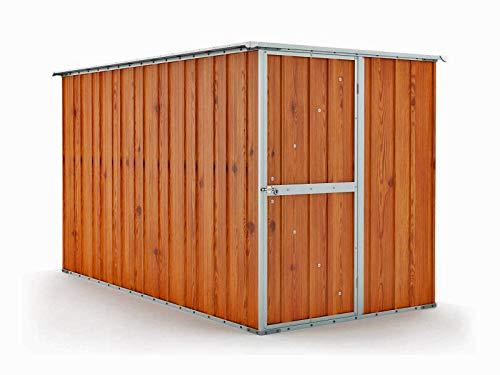 Notek Box in Acciaio Zincato Casetta da Giardino in Lamiera 1.75 x 3.07 m x h1.82 m - 95 kg – 5,4 Metri Quadri – Legno