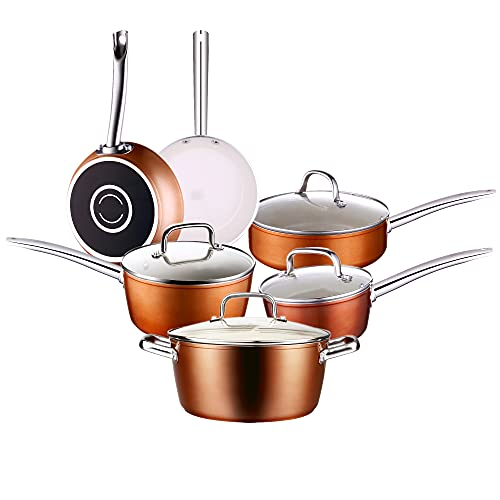 10-Piece Ceramic Non-Stick Cookware Set with Lid Stainless Handles Pots & Pans set Dishwasher Safe Oven Safe Copper