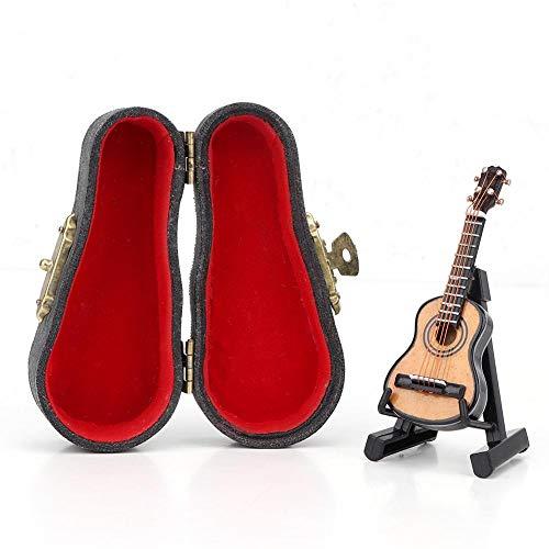 Zerodis 1:12 Mini Puppenhaus Holz Instrument Gitarre mit Leder Box Simulation Modell Dekoration Zubehör für Puppenhaus