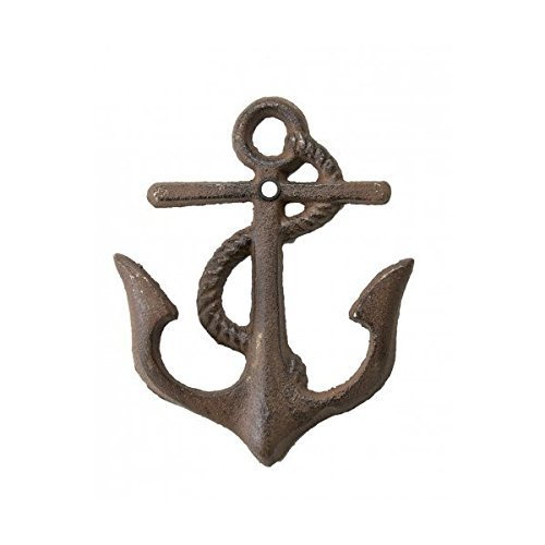 Cast Iron Nautical Anchor Hook Rustic Brown 5 1/4 inch tall