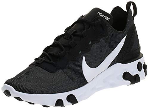 Nike W React Element 55 Chaussures de Running Compétition Femme, Noir (Black/White 003), 36.5 EU