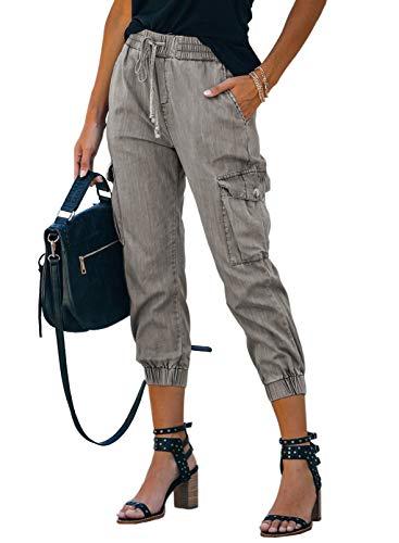 Azokoe Women Flare Jeans Drawstring Elastic Waist Bell Bottom Loose Boyfriend Denim Pants Gray XL