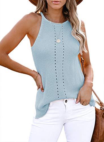 FIYOTE Damen Hemd Casual Bluse Top Chiffon Oberteile V-Ausschnitt T-Shirt Top Sommer Top Tank Tunika Elegant Weste Top Blau S