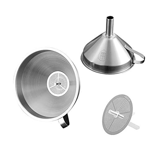 Imbuto in acciaio inox, orecchie d'orzo per cucina con filtro rimovibile, imbuto per riempire bottiglie di oli essenziali/da cucina o filtrare ingredienti secchi e polvere, (5 pollici) argento.