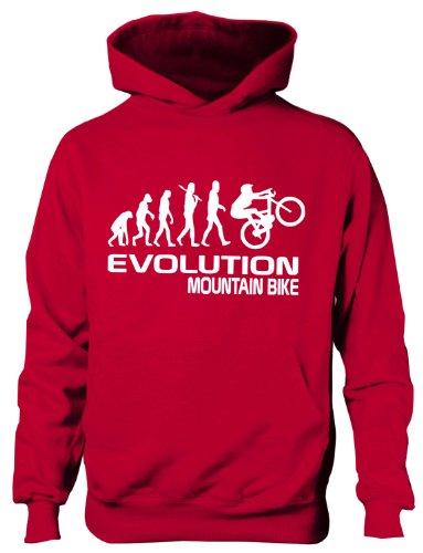 Mountain Bike/Biker ~ Evolution von ~ Kinder/Mädchen/Jungen Kapuzenpulli in 6Farben ~ Alter 5–13 Gr. 5 Jahre, rot
