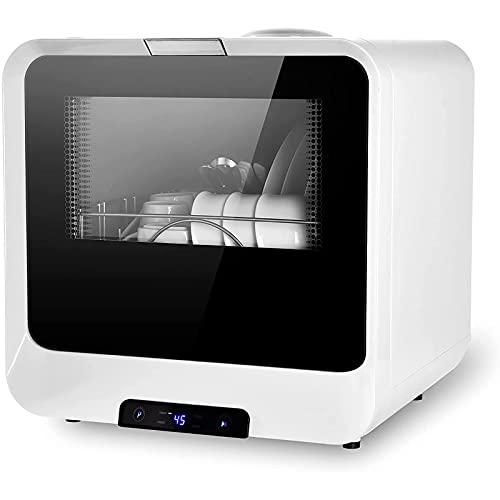 Mini lavavajillas 45 cm, vajilla con 4 programas de Lavado y función de Secado de Aire, 7.8L Lavavajillas Totalmente automático 360 ° Brazo Doble Espiral de Doble Espiral,Blanco