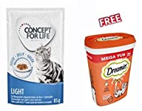 Concept for Life Light in Jelly 24 x 85g This balanced, reduced-calorie nutritional formula with adjusted fat content and highly digestible proteins in combination with L-carnitine helps your cat to achieve its ideal body weight. If fed exclusively, ...