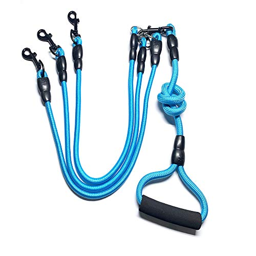 Heyllou 3 in 1 Durable Nylon Dog Leash with Padded Handle, 360° Swivel No Tangle Climbing Rope Removable Pet Traction Rope, Lead for Medium Large Dogs Blue