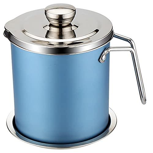 Colador de grasa de 1,4 l de aceite de oliva Vinagre Contenedor Colador de acero inoxidable Filtro extraíble Almacenamiento de aceite para freír (azul)