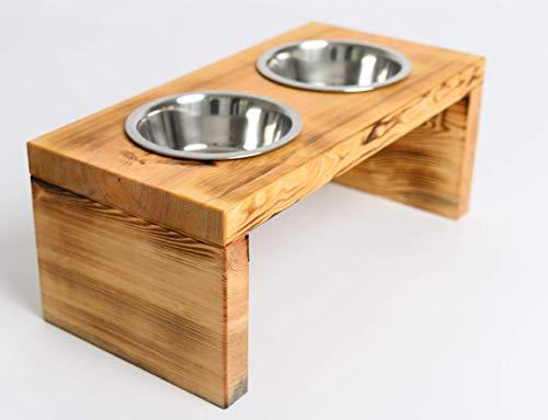 Woodworms Hundebar mit 2x 1,6 Liter Edelstahlnäpfen, Handgemachte Echtholz Futterbar für mittlere und große Hunde