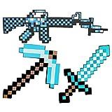 ZWWZ Espada de Juguete para Niños,Espada de Diamante,Pico,Hacha de píxeles,Pala de píxeles,metralleta,Pistola de píxeles,Escudo de Minecraft,Juguete De Batalla De Tamaño Natural (8 Combinaciones)