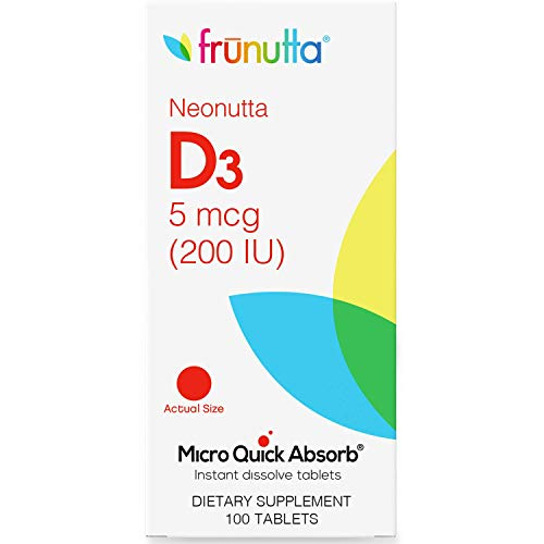 Frunutta Neonutta Vitamin D3 200 IU Under The Tongue Instant Dissolve Tablets for Kids - 5 mcg x 100 Tablets for Children - Perfect Solution for Stronger Bones and Teeth - Non-GMO, Gluten Free