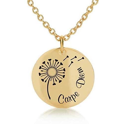 Himmelsflüsterer - Gravur-Halskette 'Pusteblume' für Damen (verstellbar) mit Karma-Sprüchen, Farbe:Gold, Gravur Spruch:Carpe Diem