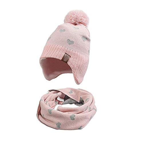 VUCDXOP Cappello Invernale per Bambini con Set di Sciarpa Cappello Lavorato a Maglia Morbido + Set Sciarpa ad Anello Moda Beanie Cappello Scaldacollo Colletti Fazzoletto da Collo Sciarpa