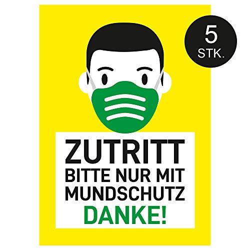 Zutritt Bitte nur mit Mundschutz, Poster, Plakat, Hinweis Schild, Mundschutz tragen, 5 STK. (DIN A4)