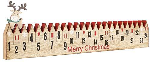 Brubaker Adventskalender aus Holz mit Rentier zum Aufstecken Naturfarben 55 x 9,6 x 1,8 cm