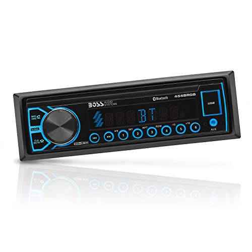 BOSS Audio Systems 455BRGB Multimedia Car Stereo - Single Din, Bluetooth Audio and Hands-Free Calling, MP3 Player, USB Port, AUX Input, AM/FM Radio Receiver, No CD/DVD, Multi Color Illumination