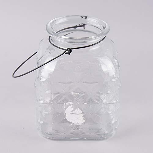 Mooi leven. Decoratief glas met handvat sterrenpatroon rechthoekig transparant 16x21cm