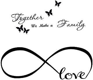 2pcs Pegatinas Pared Frases Amor Familia Vinilos Letras Ingles con Mariposas Stickers Adhesivos Decorativos Habitación Dormitorio Salón Oficina Together we make a family. Love