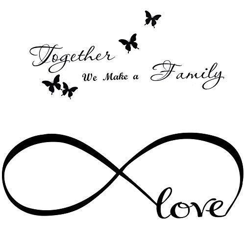 2pcs Pegatinas Pared Frases Amor Familia Vinilos Letras Ingles con Mariposas Stickers Adhesivos Decorativos Habitación Dormitorio Salón Oficina Together we make a family. Love