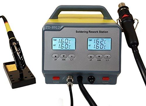Komerci ZD-8912-ESD Doppel Lötstation 2in1 mit Heißluft und Lötkolben Dual-Heißluft-Lötstation Digital-Anzeige grau/gelb