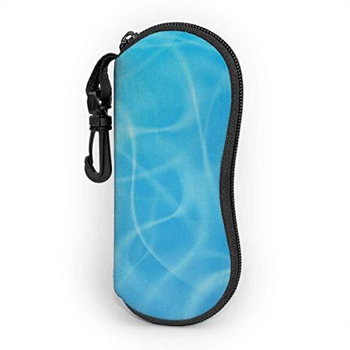 Funda de Gafas Vacaciones de verano Océano azul Hermoso mar espumoso Agua Ultra Ligero Neopreno Suaves viaje Estuche para Gafas de caso Bolsa con Clip de Cinturón