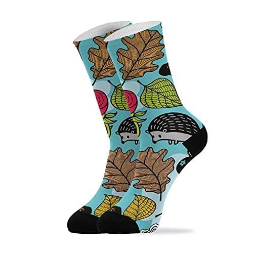Calcetines, Búho Hedgehog Rose Leaf, Calcetines de Compresión Sport Athletic Calcetines de Tripulación Largos Para Hombres Mujeres 11.8 Pulgadas (30 Cm)