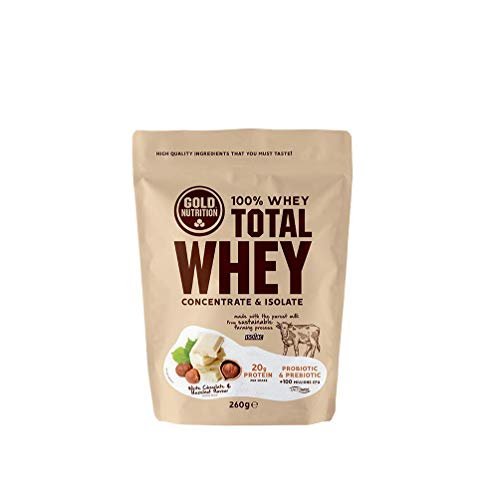 Gold Nutrition - Total Whey 260g Sabor Chocolate Blanco - Avellana