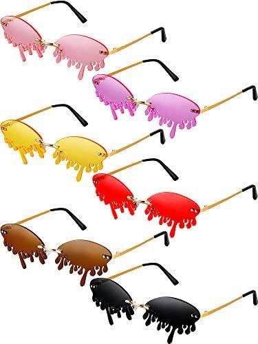 6 Pairs Rimless Tear Drop Sunglasses Funny Teardrops Sunglasses Costume Glasses for Women Men product image