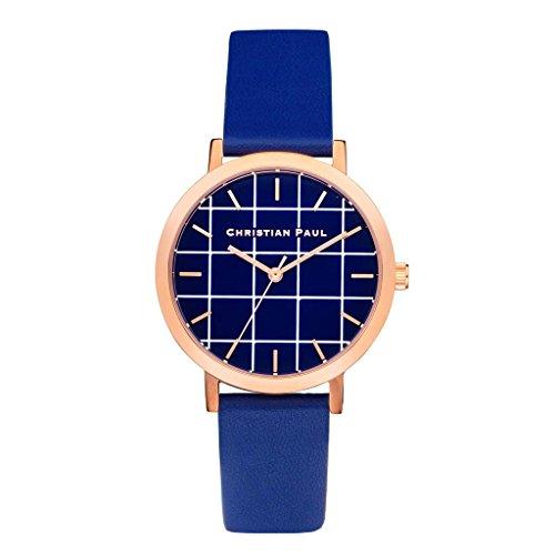Christian Paul grl-04Hombres de Acero Inoxidable Banda de Piel Azul Esfera Azul Reloj